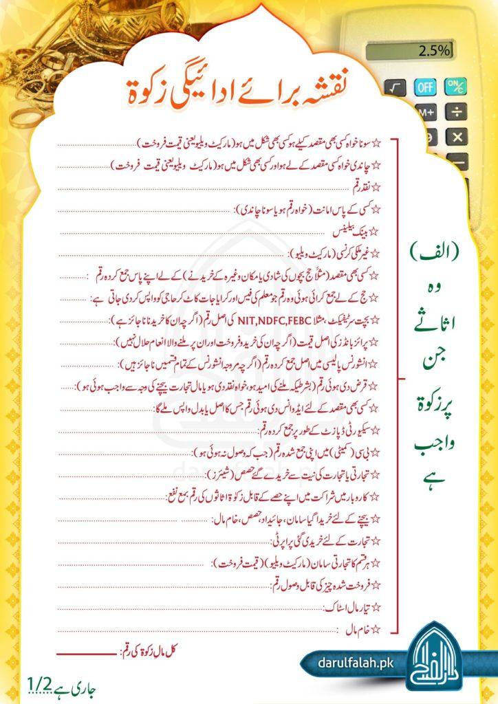 Naqsha Baraay Adaigi Zakat 1